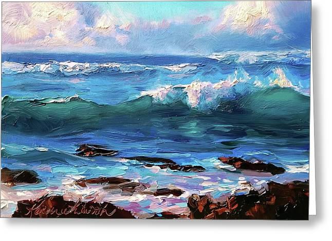 Coastal Ocean Sunset At Turtle Bay, Oahu Hawaii Beach Seascape Greeting Card