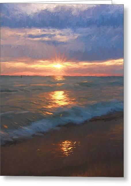 Ocean Sunset Greeting Card by Dan Sproul
