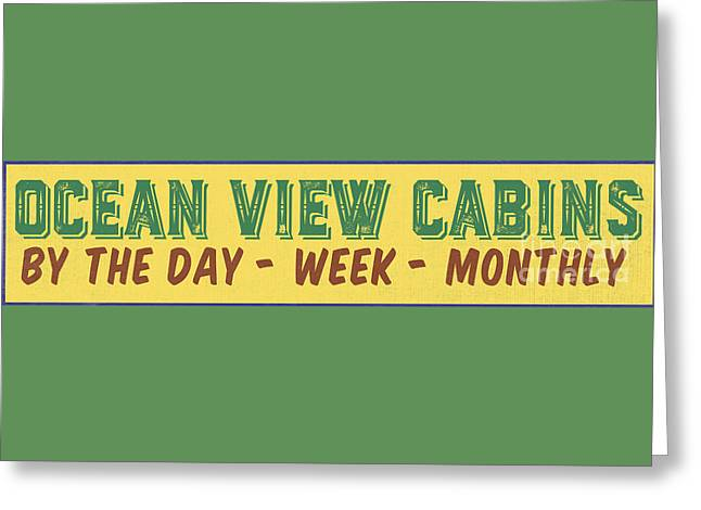 Ocean View Cabins Vintage Sign Greeting Card by Edward Fielding