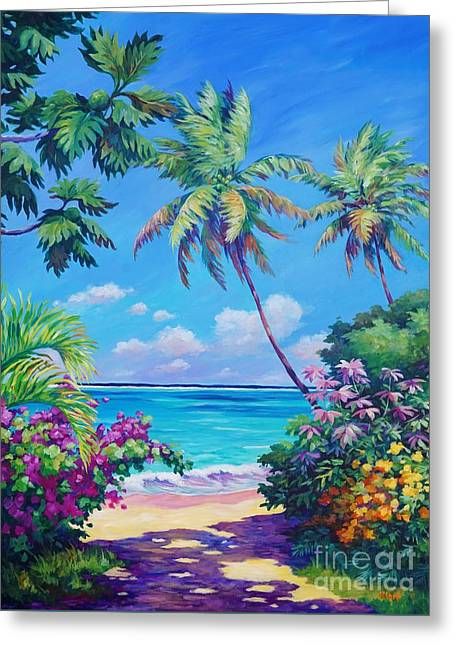 Ocean View With Breadfruit Tree Greeting Card by John Clark
