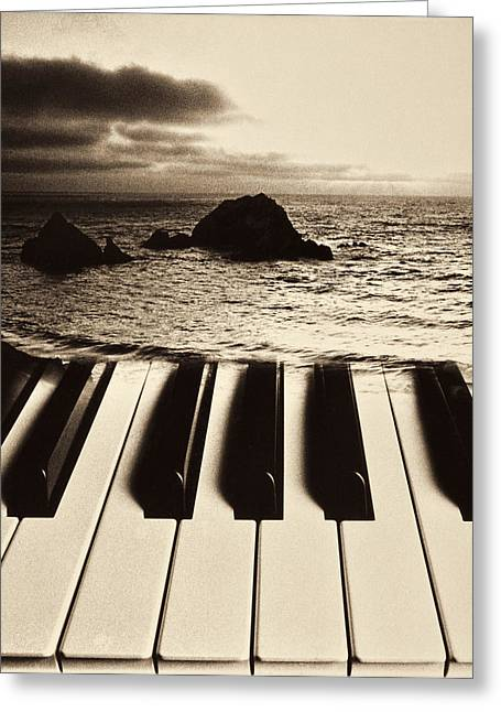 Keyboard Photographs Greeting Cards - Ocean washing over keyboard Greeting Card by Garry Gay