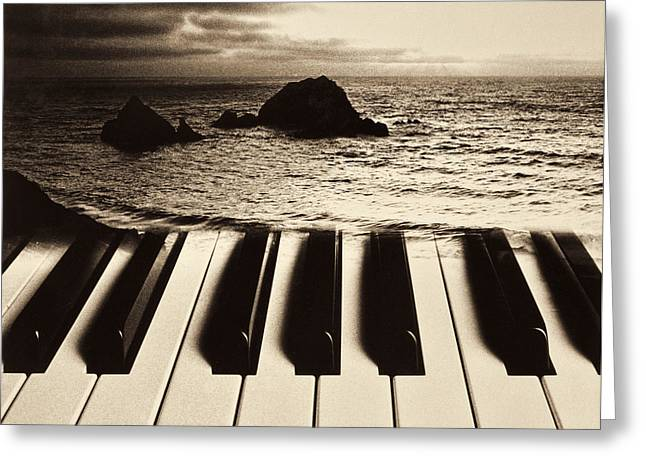 Ocean Washing Over Keyboard Greeting Card