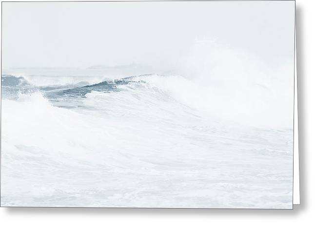 Greeting Card featuring the photograph Ocean Wave. Series Ethereal Blue by Jenny Rainbow