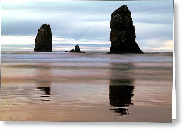 Ocean Waves And Rocks Greeting Card by Jeff Swan