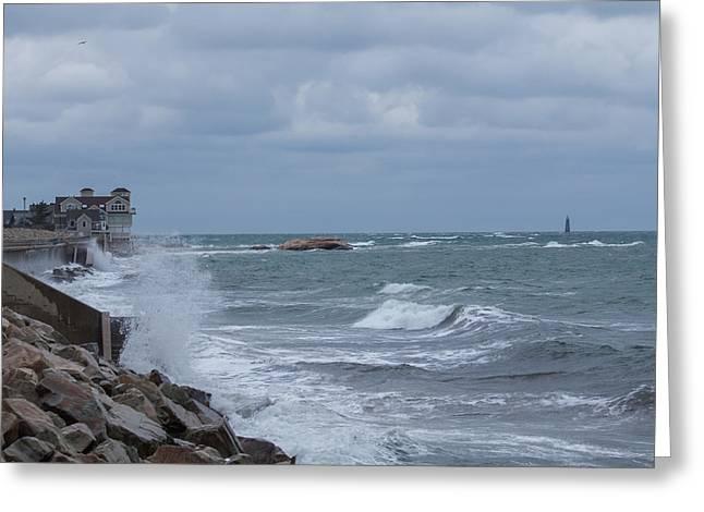 Ocean Waves At Minot Beach Greeting Card