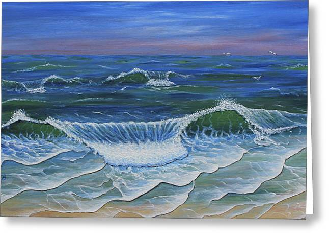 Greeting Card featuring the painting Ocean Waves Dance At Dawn Original Acrylic Painting by Georgeta Blanaru