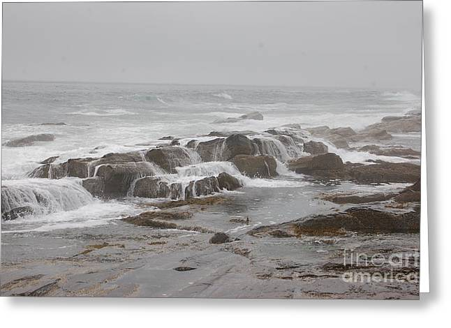 Ocean Waves Over Rocks Greeting Card