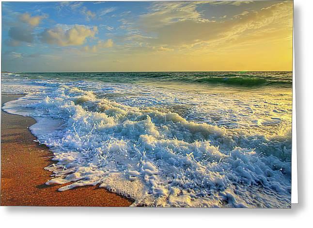 Ocean Waves Sunrise Greeting Card