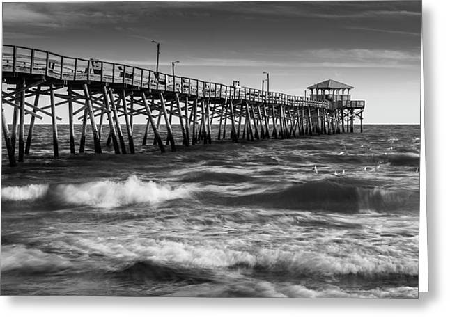 Greeting Card featuring the photograph Oceana Ocean Crest Fishing Pier In Nc Panorama In Bw by Ranjay Mitra