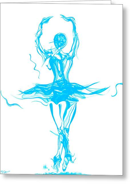 Oceanic Blue Ballerina Twirling Greeting Card by Abstract Angel Artist Stephen K