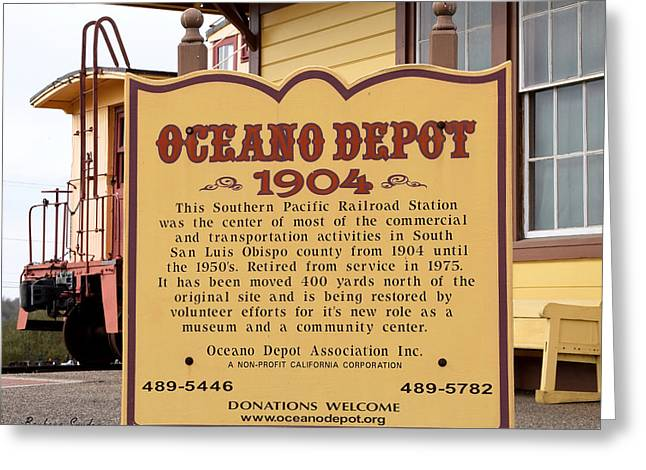 Oceano Depot 1904 Greeting Card by Barbara Snyder