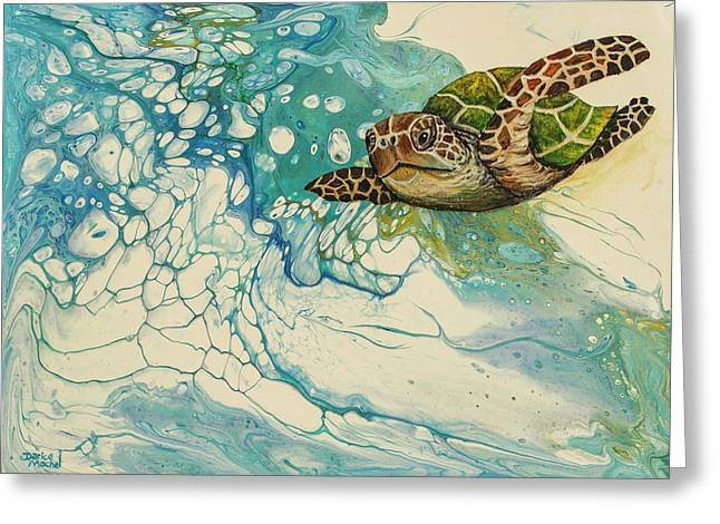 Greeting Card featuring the painting Ocean's Call by Darice Machel McGuire