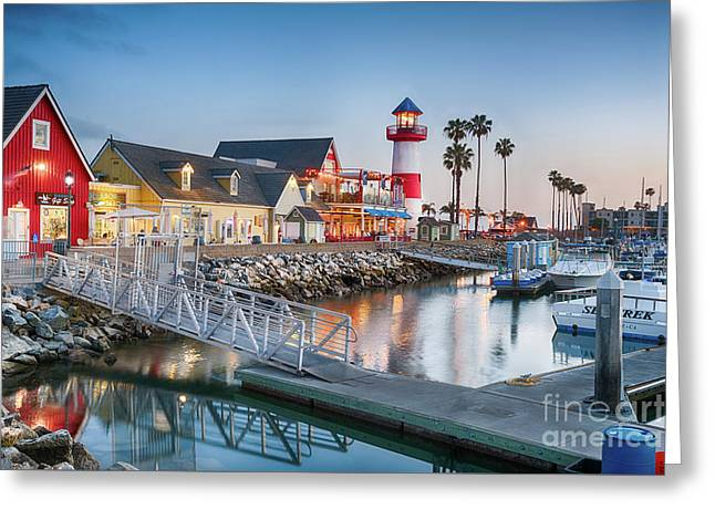 Oceanside Harbor Village At Dusk Greeting Card
