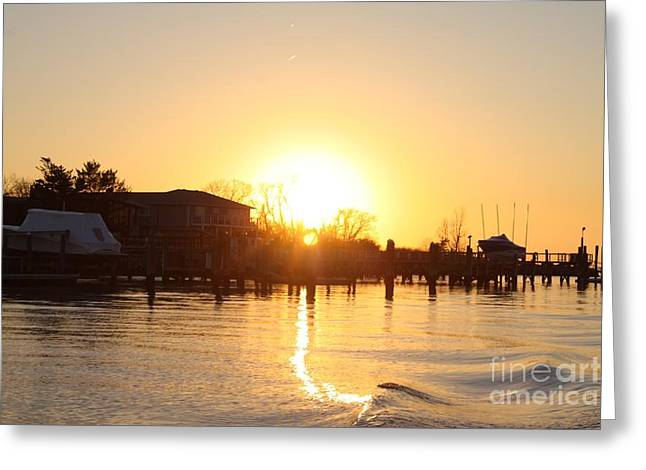 Oceanside Ny Spring Sunset After Fishing Greeting Card