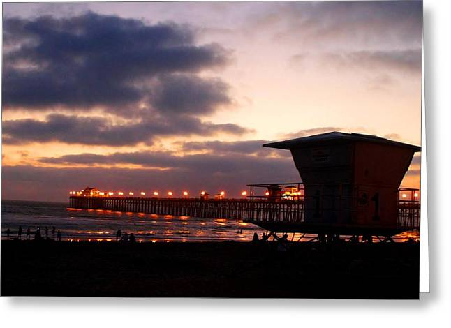 Greeting Card featuring the photograph Oceanside Pier by Christopher Woods