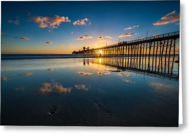 Oceanside Pier Reflections Greeting Card by Larry Marshall