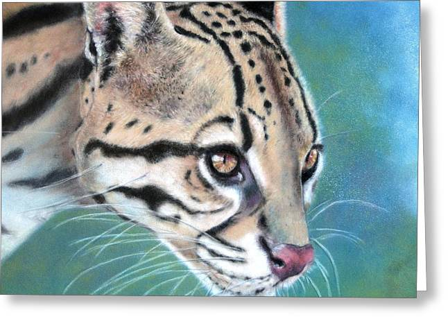 Greeting Card featuring the painting Ocelote by Ceci Watson