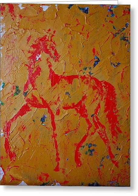 Ochre Horse Greeting Card