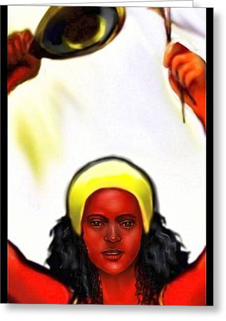 Ochun -the Goddess Of Love And Beauty  Greeting Card by Carmen Cordova