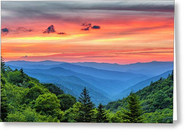 Oconaluftee Valley Sunrise Greeting Card by Stephen Stookey