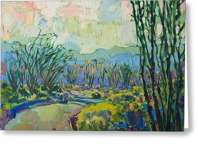 Greeting Card featuring the painting Ocotillo Forest by Erin Hanson