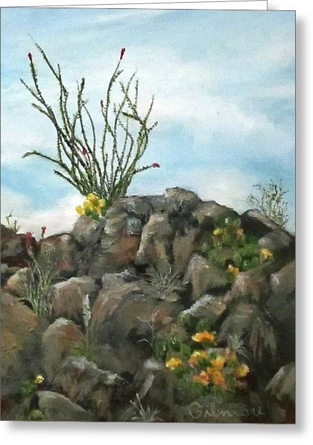 Ocotillo In Bloom Greeting Card by Roseann Gilmore