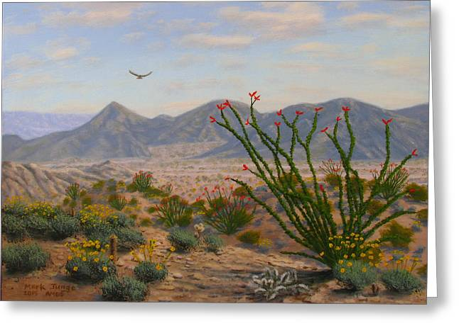 Ocotillo Paradise Greeting Card by Mark Junge