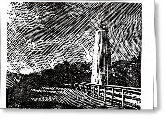 Greeting Card featuring the painting Ocracoke Island Lighthouse II by Ryan Fox