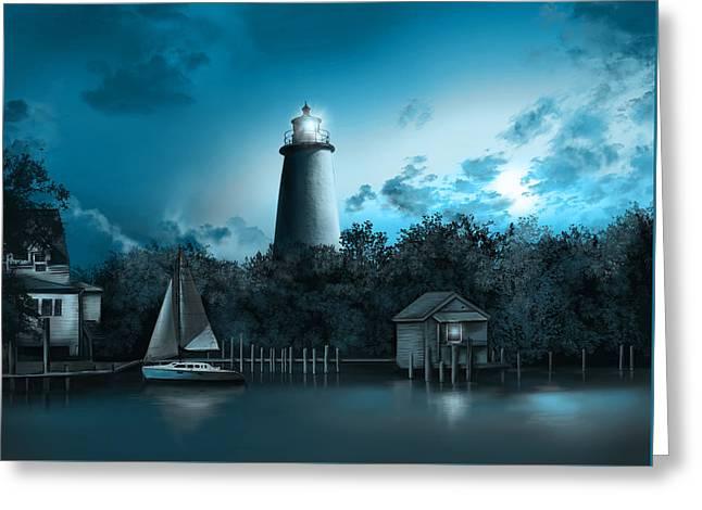 Ocracoke Lighthouse Blue Greeting Card
