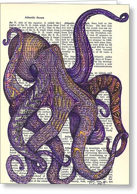 Octo Greeting Card by Laura Lobner
