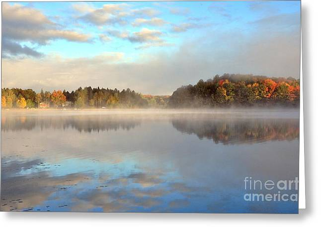 October Chill At Stoneledge Lake Greeting Card by Terri Gostola