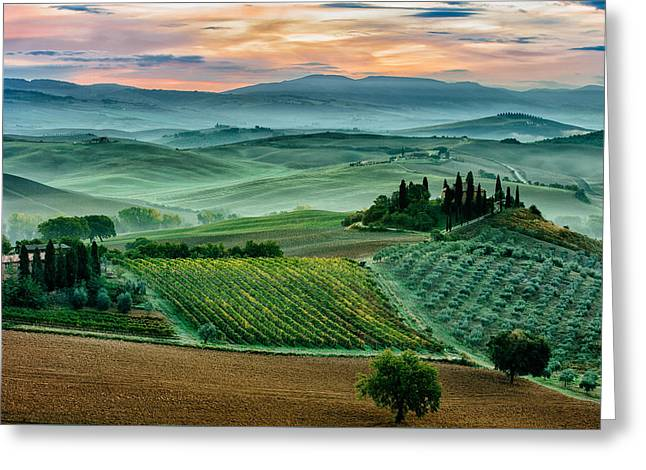 October Dawn In San Quirico D'orcia Greeting Card by Adrian Popan