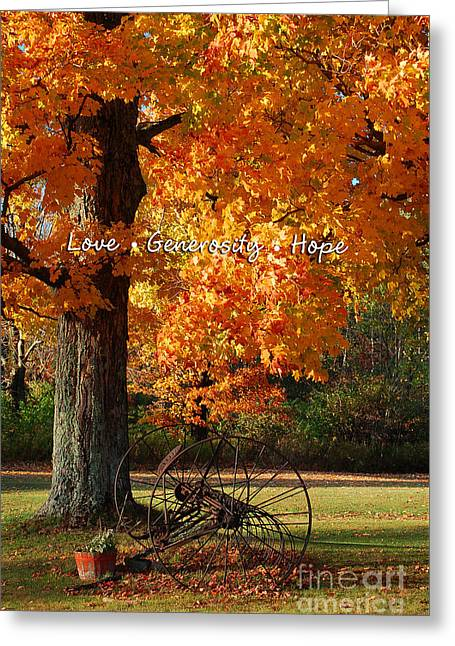 October Day Love Generosity Hope Greeting Card by Diane E Berry