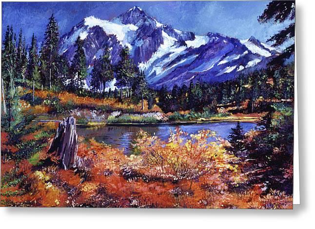 October Lake - Mount Shuksan Greeting Card by David Lloyd Glover