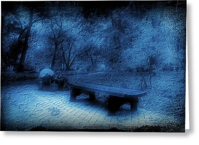 October On The Woodland Path Blue Greeting Card by Thomas Woolworth