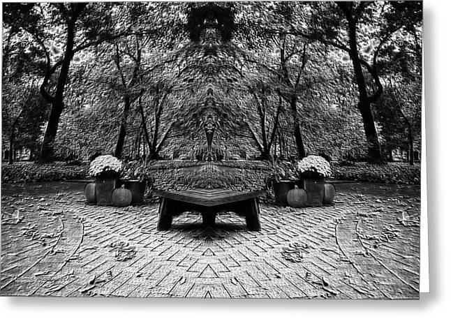 October On The Woodland Path Pa Mirror Image Bw Greeting Card by Thomas Woolworth
