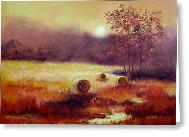 October Pasture Greeting Card by Ginger Concepcion