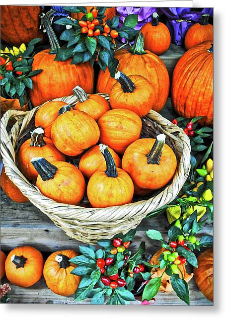 Greeting Card featuring the photograph October Pumpkins by Joan Reese