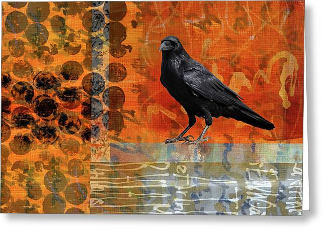 Greeting Card featuring the painting October Raven by Nancy Merkle