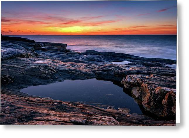 October Sky At Pemaquid Point Greeting Card by Rick Berk