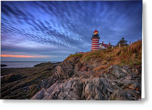 October Sky At West Quoddy Head Light Greeting Card