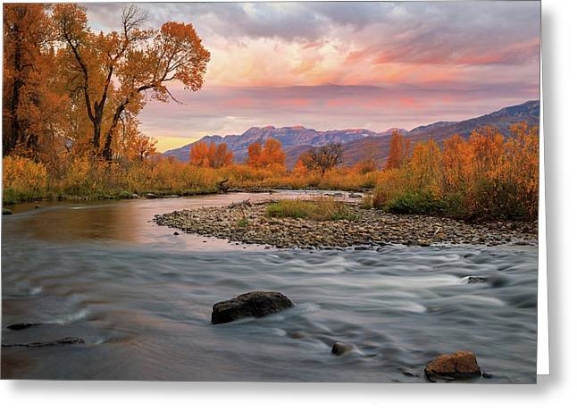 Greeting Card featuring the photograph October Sunrise At The Provo River. by Johnny Adolphson