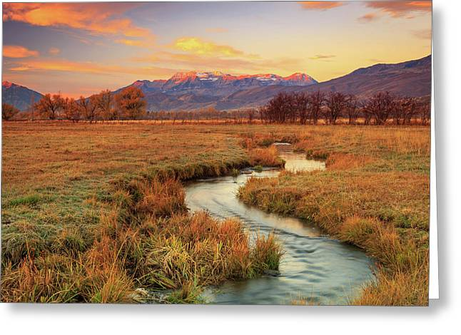 October Sunrise In Heber Valley. Greeting Card