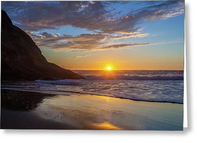 October Sunset Strands Beach Greeting Card