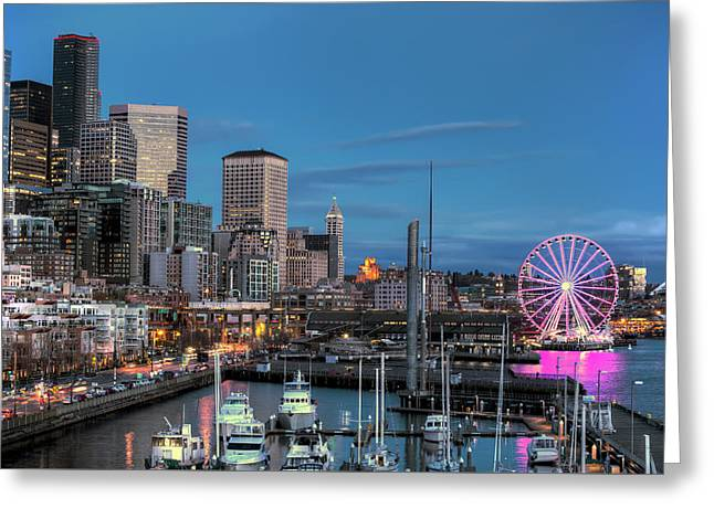 October Twilight Seattle Waterfront Greeting Card
