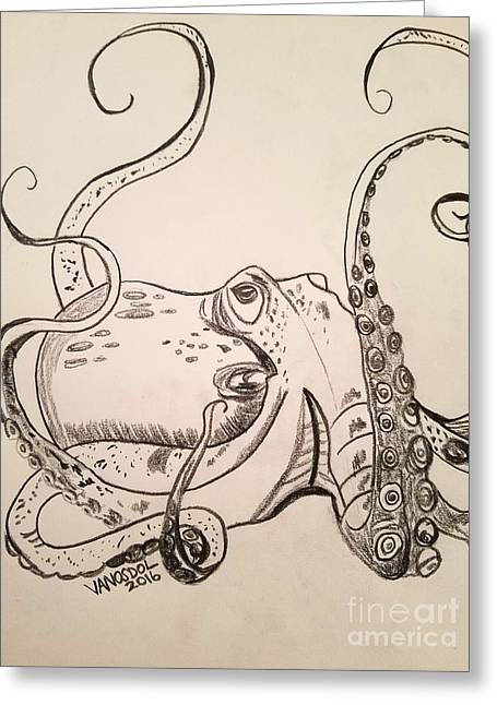 Octopus Detailed Sketch  Greeting Card by Scott D Van Osdol