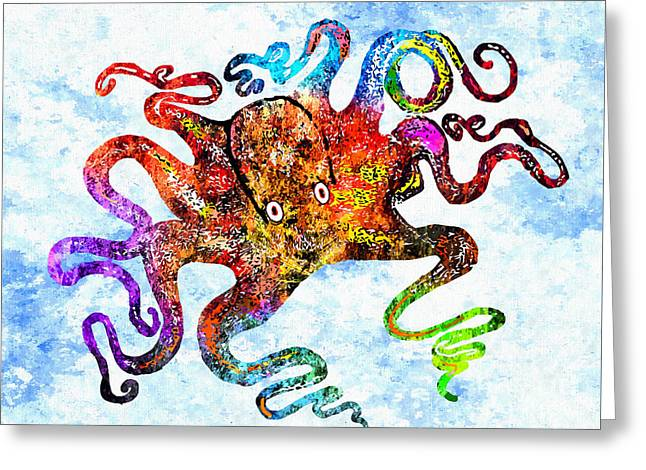 Octopus Grunge Greeting Card