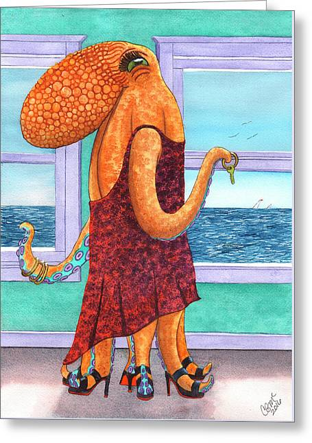 Octopus In A Cocktail Dress Greeting Card