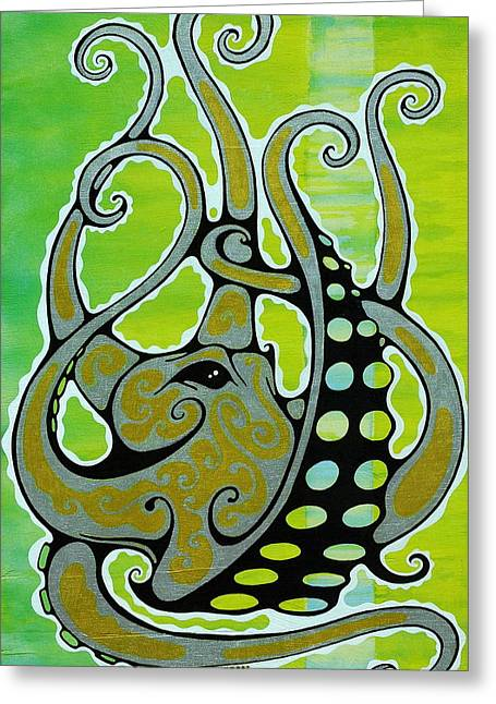Octopus Greeting Card by John Benko