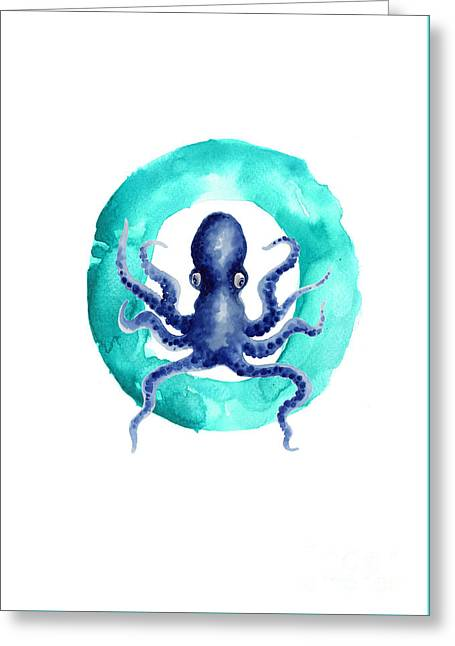 Octopus Watercolor Alphabet Art Print Greeting Card